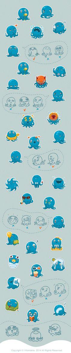 VKontakte Octopus Otto Sticker Set on Behance