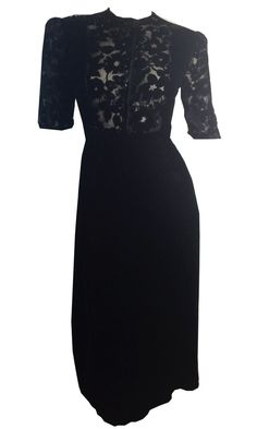 Ink Black Silk Velvet Dress with Voided Velvet Bodice circa 1940s