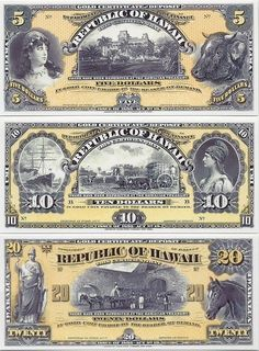 Hawaii:   5 Dollars 1895(1899) (Palace, woman, steer); 10 Dollars 1895(1899) (steamship, sugar cane harvest); 20 Dollars 1895(1899) (harvest scene, horse). Canadian Coins, Gold And Silver Coins, Coin Values, Old Money, World Coins, Vintage Typography, Rare Coins, Coin Collecting, Old Pictures