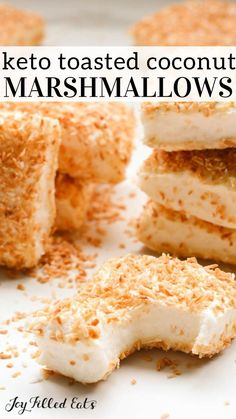 Sugar Free Marshmallows with Toasted Coconut - Keto Low Carb Gluten-Free Grain-Free THM S - These super easy marshmallows are soft and pillowy like a delicious cloud! Try them today and you can thank me later! Sugar Free Marshmallows with Toasted Coconut Low Carb Sweets, Low Carb Desserts, Low Carb Recipes, Snack Recipes, Dessert Recipes, Snacks, Comida Keto, Keto Candy, Recipes With Marshmallows