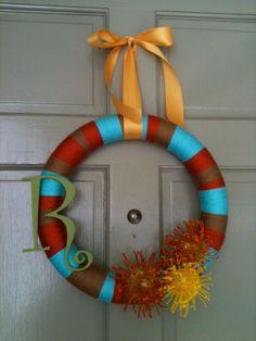 yarn initial wreath