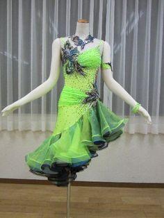 SoldOut☆社交ダンスドレス(ラテン)LD-024英国製・ライムシャーベット×フリルスカート の画像 うさぎ通信*Fromスズキノリオダンスカンパニー