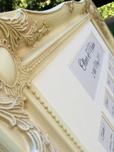 Sheer Elegance - Vintage Ivory Ornate Framed Table Plan with multi aperture ivory mount board and information printed onto soft sheen ivory card.