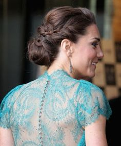 One of Kate's rare updoes, this time a grecian style plaited style for an Olympics gala