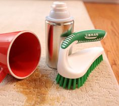 Clean up stubborn carpet stains with shaving cream and a good Libman Brush