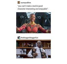 My 2 favorite people: Okoye and Captain Raymond Holt Marvel Funny, Marvel Memes, Marvel Avengers, Dc Memes, Funny Memes, Hilarious, Johnlock, Destiel, Fandom Crossover