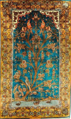 """Cyan Blue and gold """"Knotted Tree of Life"""" carpet from Kashmir."""