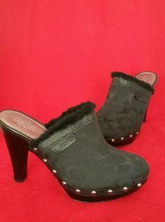 Coach Black Canvas Signature Logo Georgia Shearling Mule Clog Heels Size 9.5M #Coach #Mules