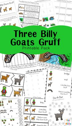 Free Educational PrintableThree Billy Goats Gruff Lesson For Preschool Or Younger Kids Helps With Fine