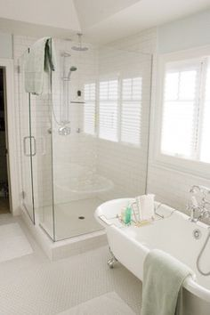 subway tile bathrooms | ... Classic White Bathroom Installation - Subway Tile and Hex Mosaics