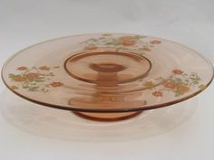vintage pink depression glass cake stand pedestal plate, colored poppies