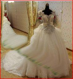 YZ New Arrival Gorgeous Luxurious Swarovski Crystals Bridal Wedding Dress - Thumbnail 2