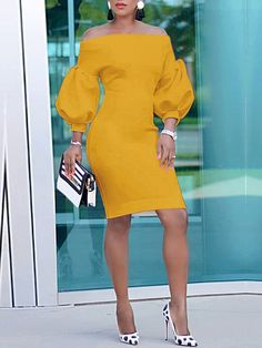 Puff Sleeve Off Shoulder Bodycon Dress Elegant Dresses, Sexy Dresses, Dress Outfits, Evening Dresses, Casual Dresses, Short Dresses, Dresses For Work, Fashion Outfits, Summer Dresses