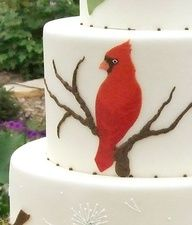 Wedding cake with chickadees, Robins and a pair of cardinals inspired by a set of watercolor notecards #celebstylewed