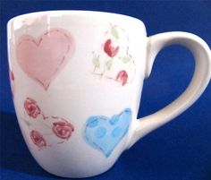 Lots of Hearts Coffee Mug Cup, holds 10 oz, by Brushes Handpainted Stonemite #Hearts at JustLuvTreasures.com