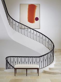 Amazing curved staircase with metal balusters and railing. It reminds me of balloons! Stair Railing Design, Staircase Railings, Curved Staircase, Modern Staircase, Stairways, White Staircase, Iron Staircase, Spiral Staircases, Interior Staircase