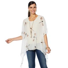 9beb561d818 Colleen Lopez Collection Colleen Lopez Tropical Charm Printed Poncho Top -