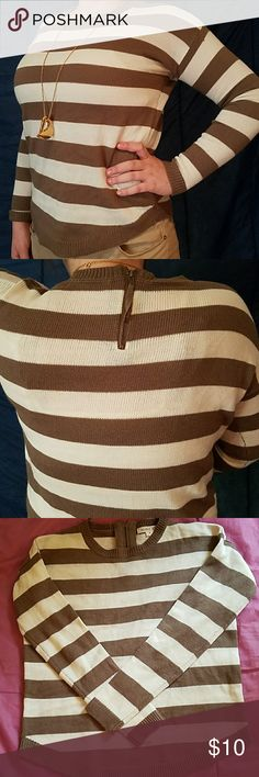 Sweater White and Tan striped sweater. Zipper in back. Size,  Medium.  Gently worn. Sweaters Crew & Scoop Necks