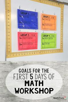 Back to School - Math About Me - FREEBIE goals for the first five days of math workshop - setting up math workshop Math Rotations, Math Centers, Multiplication Strategies, Numeracy, Guided Math Stations, Work Stations, Teaching Strategies, Fifth Grade Math, Fourth Grade