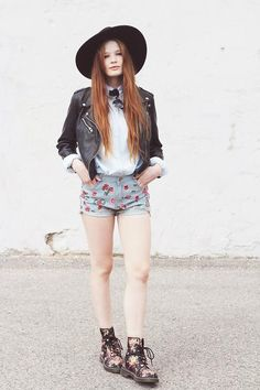 Shop this look on Kaleidoscope (shorts, jacket, boots, hat)  http://kalei.do/X2CO3n8qJWgxSrI5