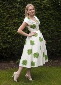 Original 1950s White Seersucker Cotton Swing Dress with Large Green Roses £70 from Upstaged Vintage