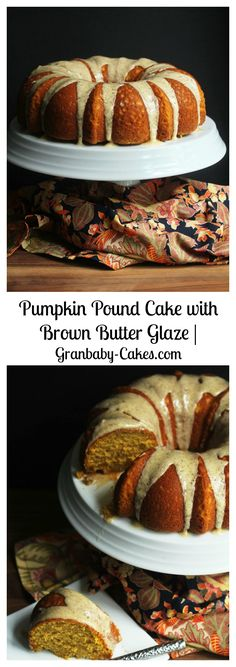 Pumpkin Pound Cake with Brown Butter Glaze | Grandbaby-Cakes.com