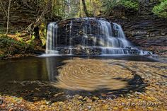 Rock River Falls. located in the Rock River Canyon Wilderness Area in Alger County which is s administered as a part of the Munising Ranger District of the Hiawatha National Forest: