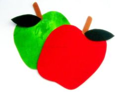 Green and Red Apple Iron On Appliques  No Sew by NewEnglandQuilter