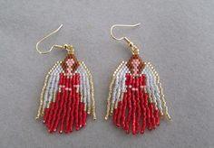 Beaded Angel Earrings in Red delica beads by DsBeadedCrochetedEtc, $20.00