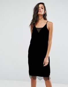 River Island Velvet Cami Dress With Lace Dress