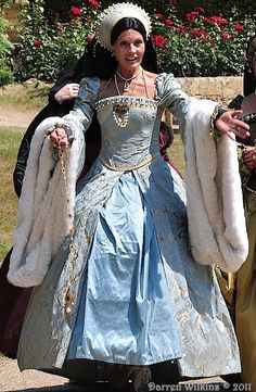 Anne Boleyn's Blue Gown. I'm putting it on this board for the following: Too short & can see the hoops of the hoopskirt. #brutalcostumes
