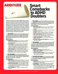 Are you or your child newly diagnosed with ADD or ADHD? Often wonder all the ways it can or does affect you? Check out this easy to read resource to learn more about ADD and ADHD. Smart Comebacks to ADHD Doubters Adhd Odd, Adhd And Autism, Smart Comebacks, Snappy Comebacks, Adhd Help, Adhd Brain, Attention Deficit Disorder, Adhd Strategies, Parenting