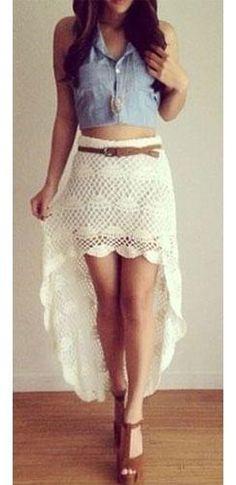 Crochet Lace Fashion Dress Patterns Ideas For 2019 Vintage Chic, Vintage Skirt, Vintage Trends, Vintage Ideas, Vintage Lace, Vintage Fashion, Crochet Skirts, Crochet Clothes, Crochet Lace Dress