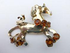 Calvaire Sterling Horse Brooch Amber color Rhinestones Vermeil figural AA945 by MeyankeeGliterz on Etsy