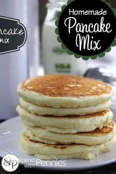 Homemade Pancake Mix Recipe {So Easy!} – Spend with Pennies You'll never buy dry pancake mix again once you try this easy and delicious homemade pancake mix recipe and make your own amazing homemade pancakes! Easy Homemade Pancakes, How To Make Pancakes, Pancakes Easy, Fluffy Pancakes, Homemade Recipe, Homemade Pancake Recipe Without Milk, Quick Pancake Recipe, Homemade Pancake Recipes, Recipes