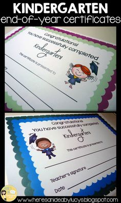 Kindergaten end-of-year certificates - many color options, different kids illustrations, B&W versions, version with no kids. Very practical! Just print and sign! Click to check it out!