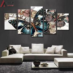 [Visit to Buy] Minimalist Modular pictures HD Printed Abstract floral butterfly Painting on canvas room decoration print poster picture canvas  #Advertisement