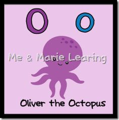 """""""Oliver the Octopus"""" Letter Oo Pack Book Letters, Picture Letters, Large Letters, Picture Cards, Letter Art, Letter Writing, Letter Size, Preschool Literacy, Preschool Letters"""
