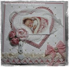 lovely baby girl card with vintage colored image..... by Lena