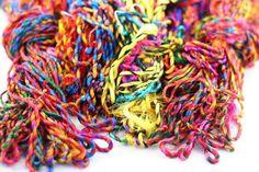 Rainbow RECYCLED RESOLUTION Silk Sari YARN by Darn Good Yarns 100gr 62 yards