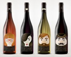 """En personne"" wine labels by Nika Toroptsova, via Behance Wine Bottle Design, Wine Label Design, Wine Bottle Labels, Wine Bottles, Cool Packaging, Bottle Packaging, Wine Brands, In Vino Veritas, Branding"