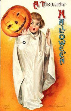 Halloween Clapsaddle White Boo Mechanical Magnet H16 | eBay