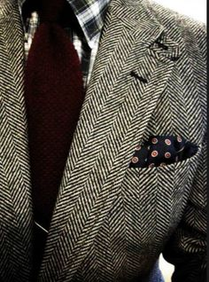 herringbone. suit. blazer. pocket square. sport coat. knit tie. men's. fashion. style.   www.dripcult.com - A blog about men's fashion, food, music, art, & lifestyle