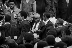 USA. Atlanta. Funeral of  Dr Martin Luther KING. NY Governor Nelson Rockfeller consoles Dr. King's father, the reverend Martin Luther King Senior.