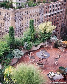 This garden, 19 stories above a New York City street, would also be at home on a suburban deck or patio. It has all the trappings of its more earthbound relatives: formal, architectural elements (a pair of juniper 'Skyrocket'), fine-textured shrubs (hakuro nishiki willow and variegated redtwig dogwood), a big fountain of four maiden grass 'Morning Light,' and a generous sprinkling of annuals and perennials.