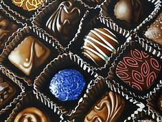 Chocolate Truffle Painting - Bonbons by Margaret Horvat