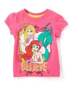 Pink 'Believe' Disney Princess Cap-Sleeved Tee - Toddler & Girls
