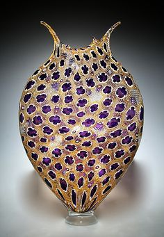 Gold & Purple Foglio by David Patchen: Art Glass Vessel available at www.artfulhome.com
