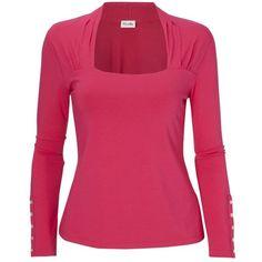 Viyella Long Sleeve Button Detail Jersey Top, Pink