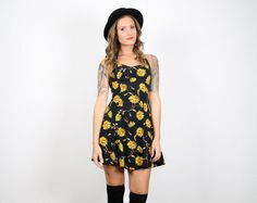 Vintage Sunflower Dress Black Glold Yellow by ShopTwitchVintage, $58.00